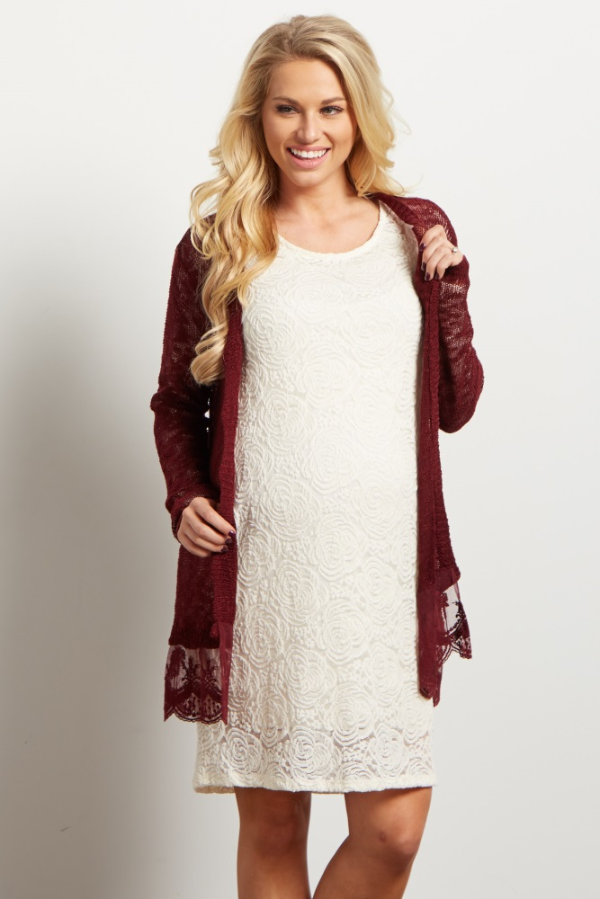 c835e1dcd2fd7 Burgundy Lace Trim Knit Open Maternity Cardigan