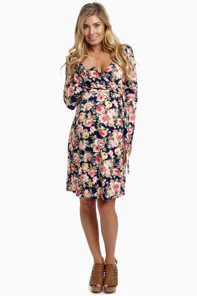 e09a218d1b1f7 Navy Blue Floral Tie Side Maternity/Nursing Dress