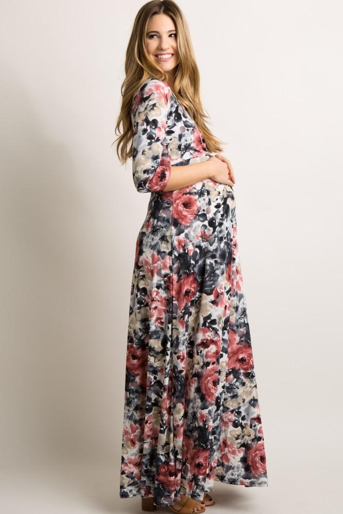 a65679a591b48 Rose Watercolor Floral Draped Maternity Maxi Dress