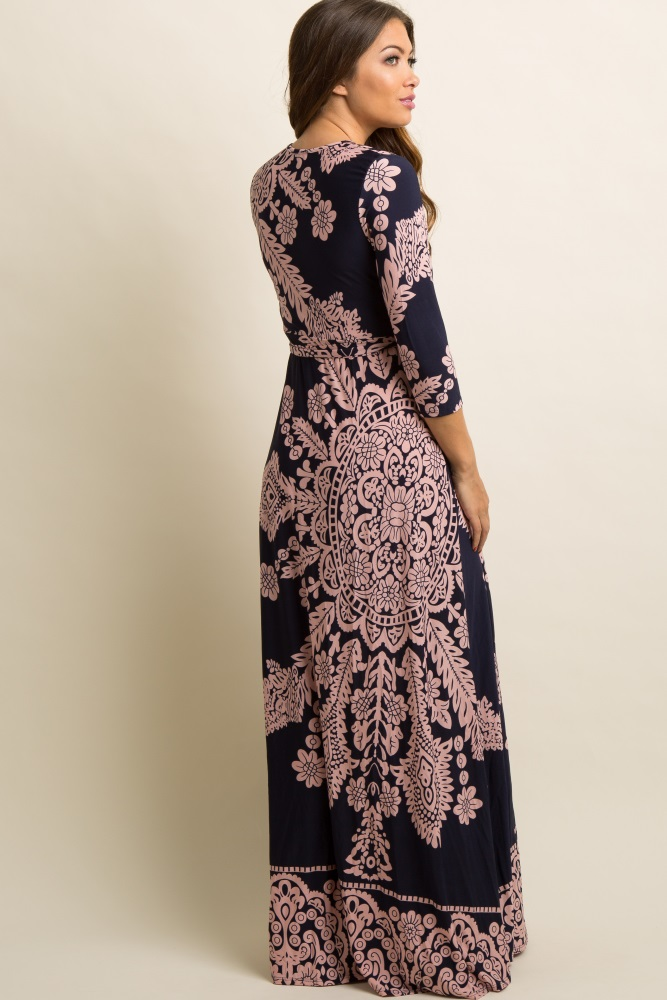 4d4a130752f Petite Navy Pink Printed Draped Maternity Maxi Dress