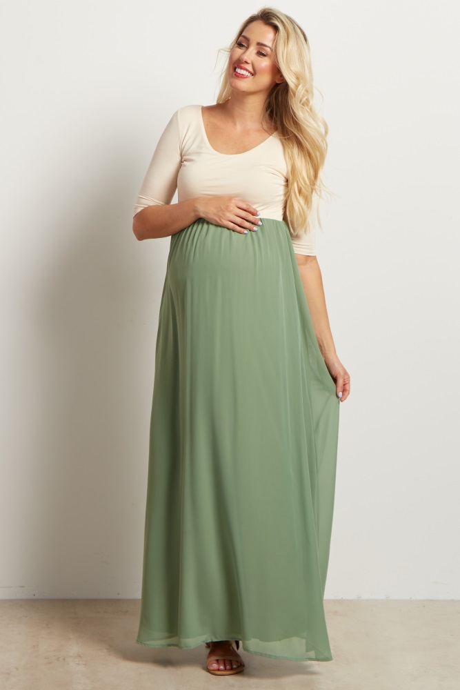 79b4dbd06b5ce Sage Chiffon Colorblock Maternity Maxi Dress