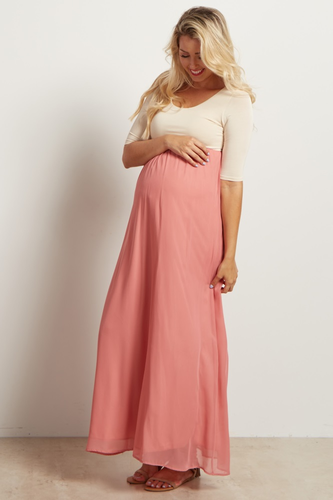 aa2d5e386f19c Blush Pink Chiffon Colorblock Maternity Maxi Dress