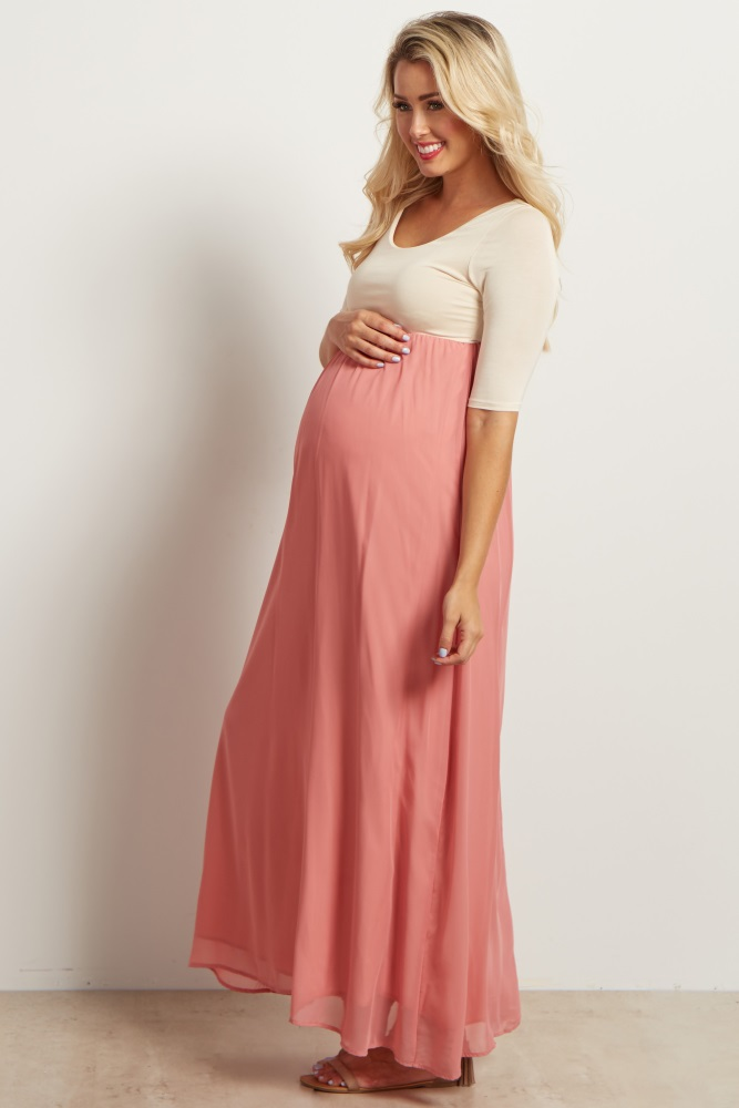 b7421cd0b3095 Blush Pink Chiffon Colorblock Maternity Maxi Dress