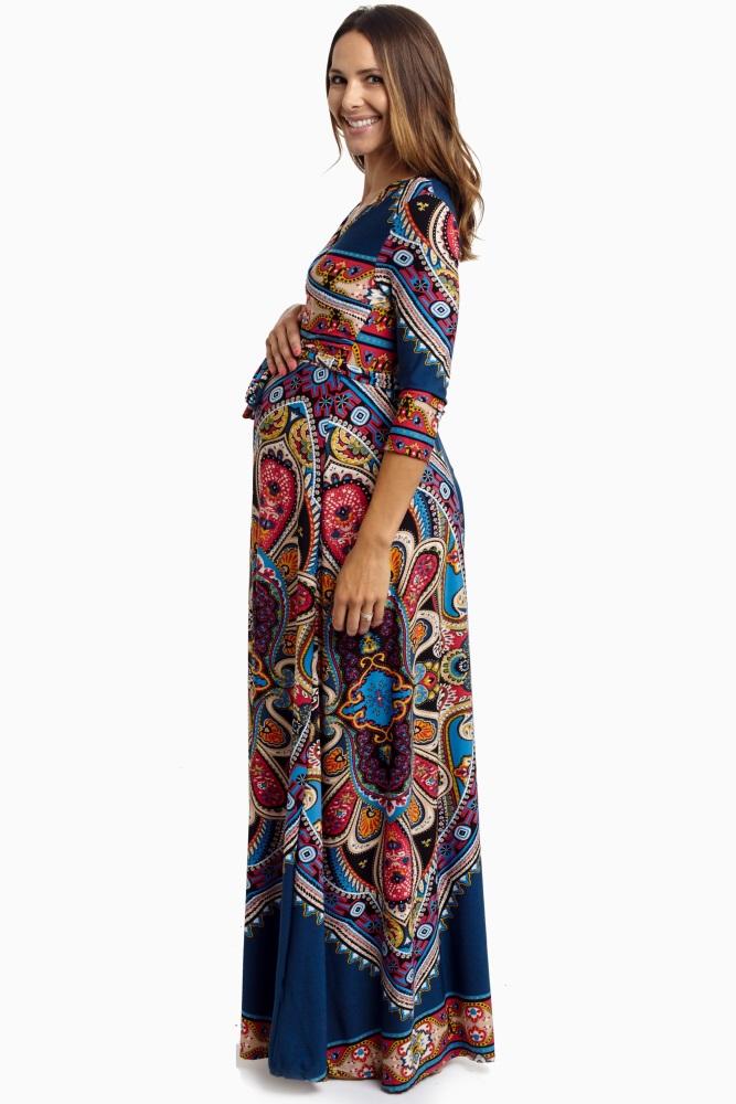 7cfd214decd3e Teal Vibrant Boho Draped Maternity Maxi Dress