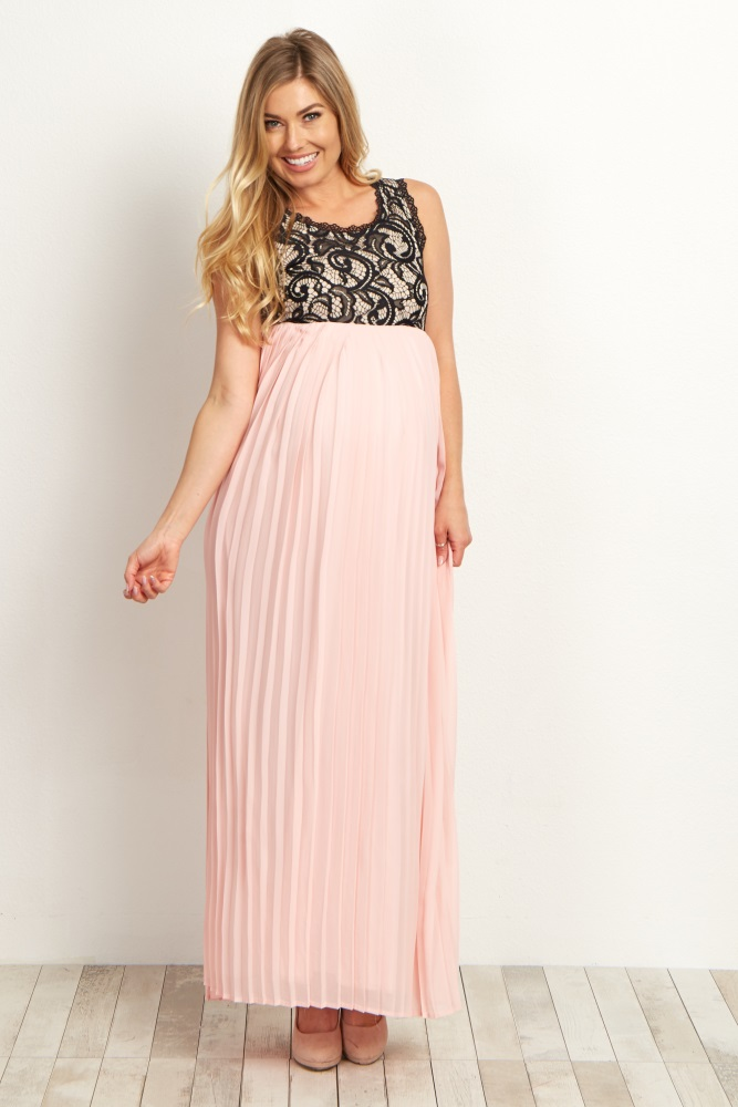 2bef35d0d10 Pale Pink Pleated Chiffon Lace Top Maternity Maxi Dress