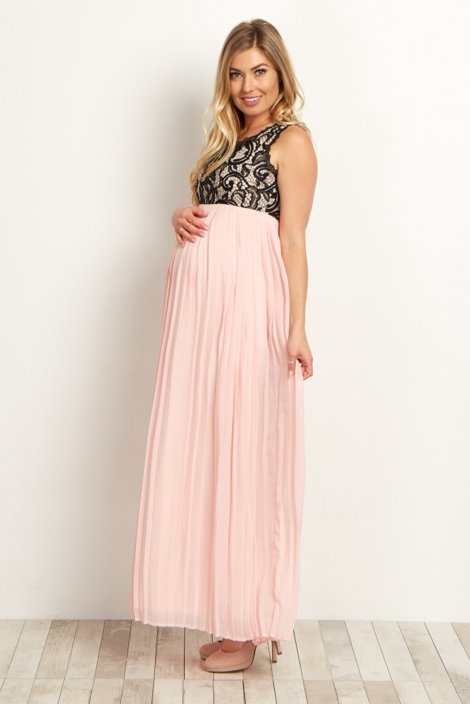 f4e449c7fc Pale Pink Pleated Chiffon Lace Top Maternity Maxi Dress