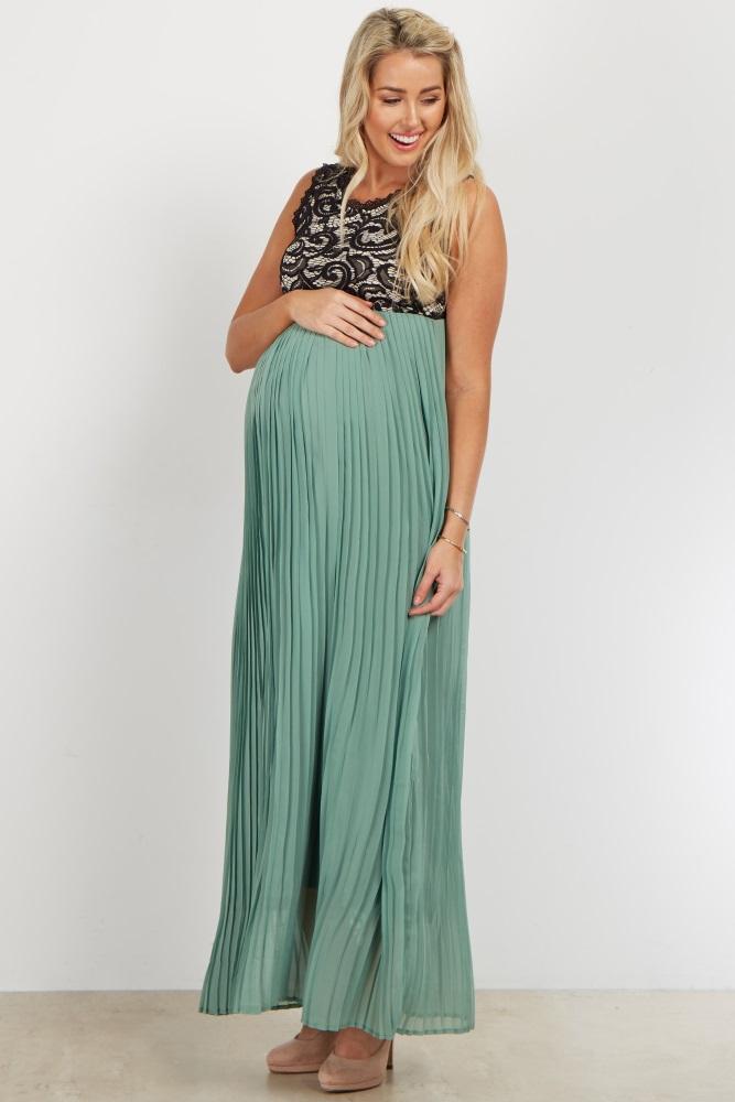 9ae394365de1 Sage Pleated Chiffon Lace Top Maternity Maxi Dress