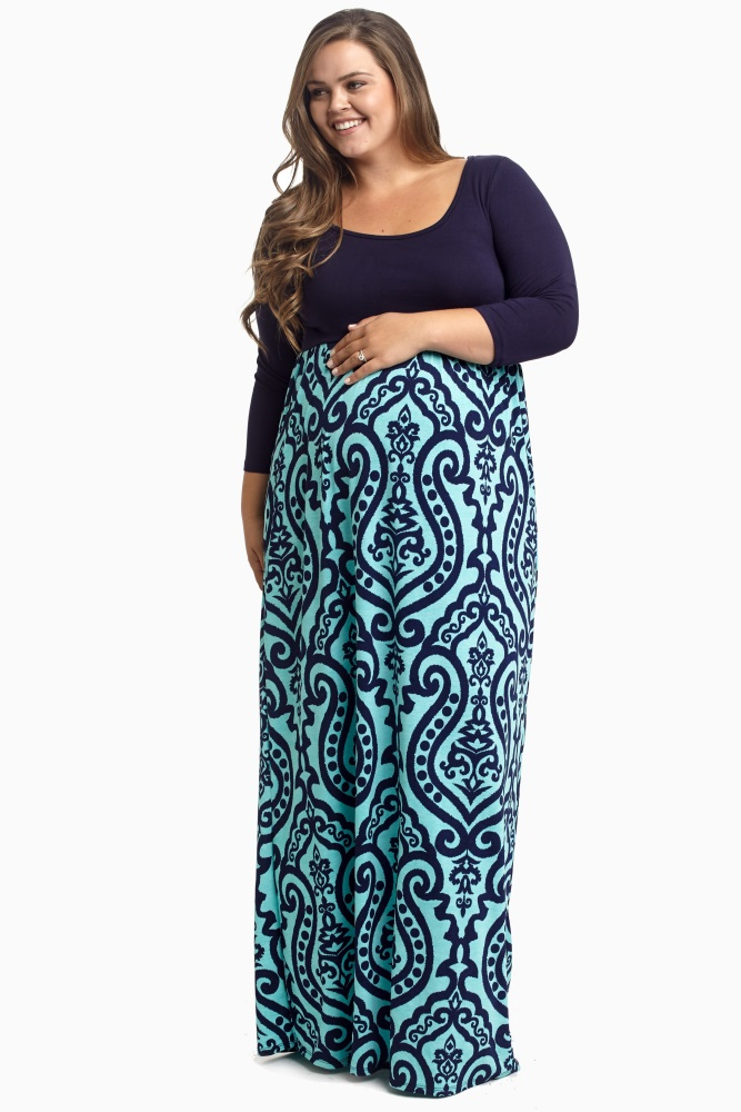 Aqua Navy Damask Bottom Plus Size Maternity Maxi Dress