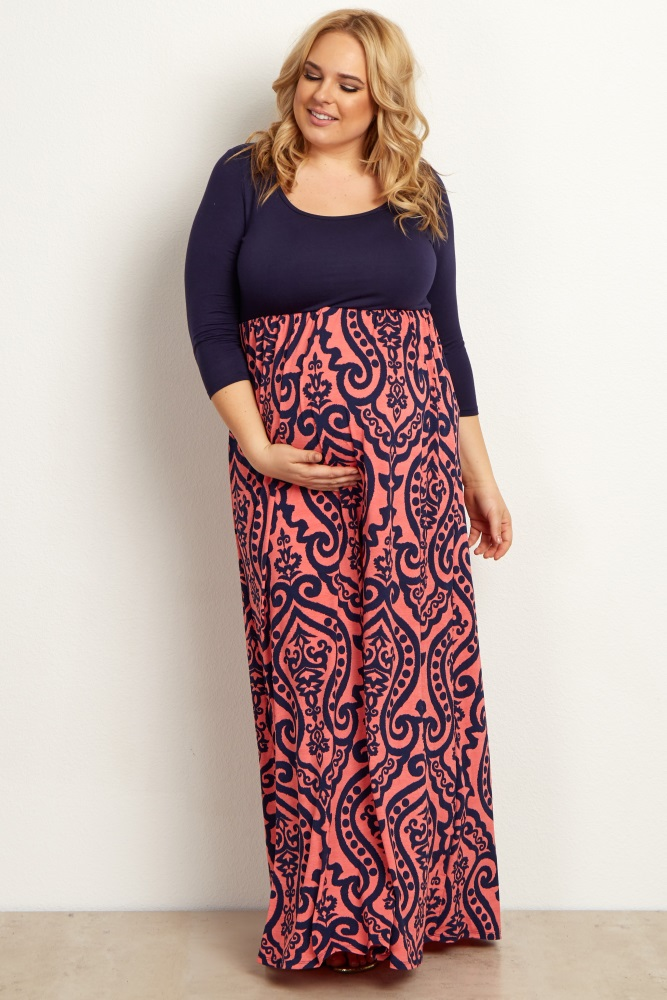 Coral Navy Damask Bottom Plus Size Maternity Maxi Dress