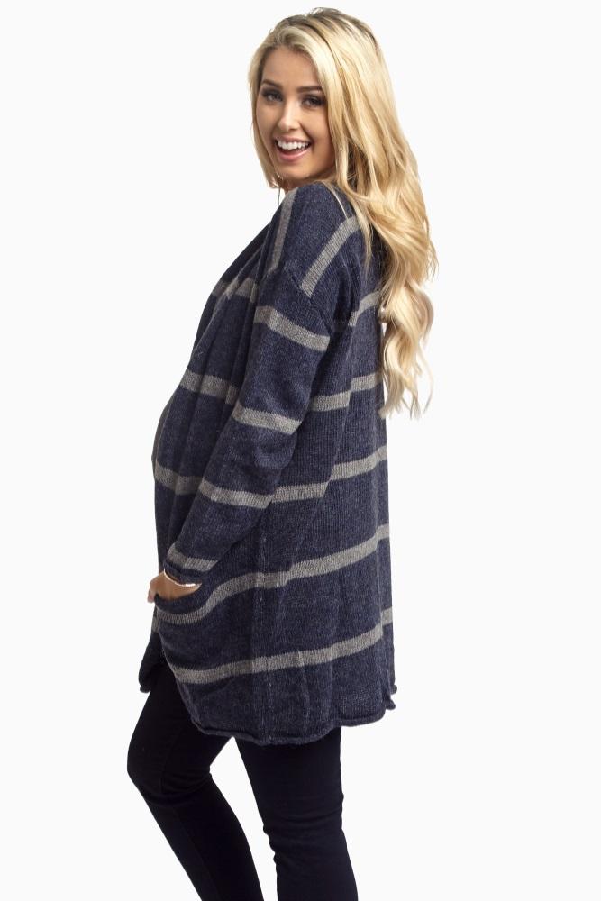 c9b3ea12126c5 Navy Striped Oversized Knit Maternity Cardigan
