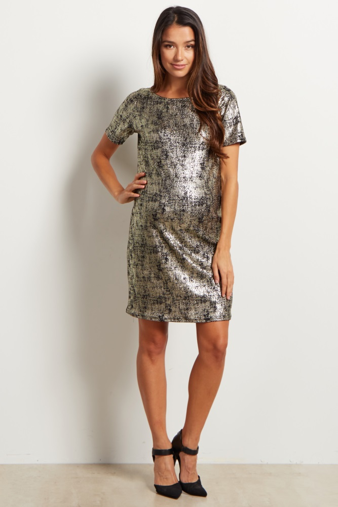 f5781fde24b Black Gold Fitted Maternity Dress