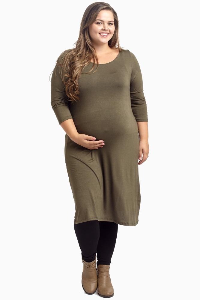 8ca81f40228 Olive Green Plus Maternity Dress