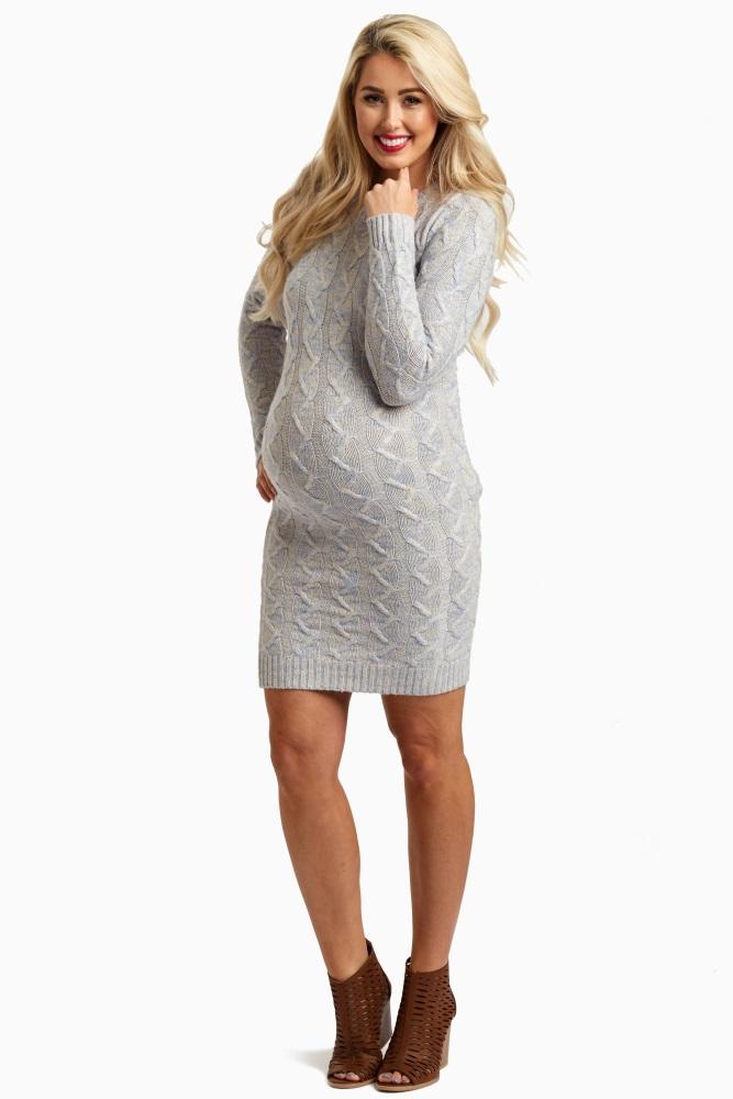 81aad16f6e Light Blue Cable Knit Maternity Sweater Dress