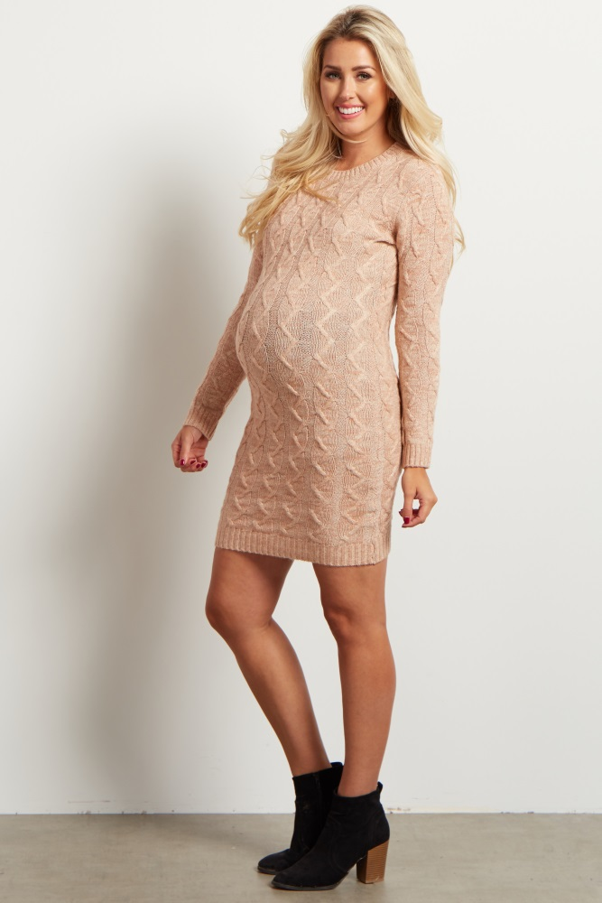 e96caf34cf6 Pale Pink Cable Knit Maternity Sweater Dress