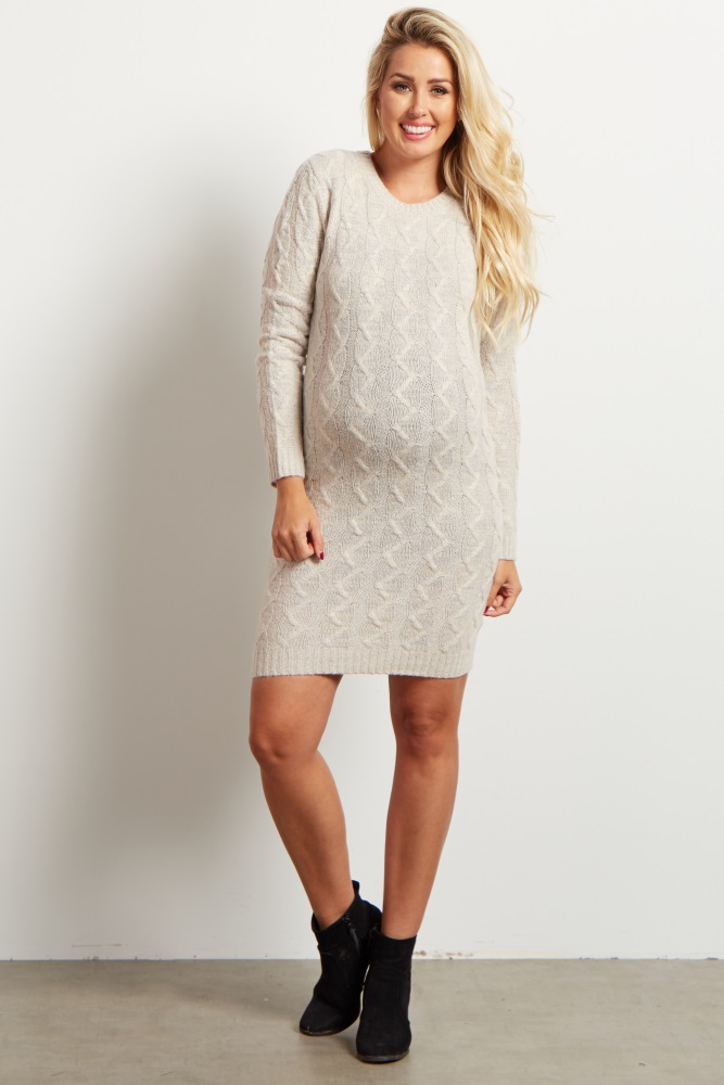 3f4d6df2453 Ivory Cable Knit Maternity Sweater Dress