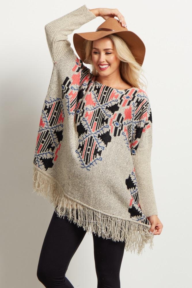 5ae92b3bf1633 Beige Neon Tribal Fringed Oversized Maternity Sweater