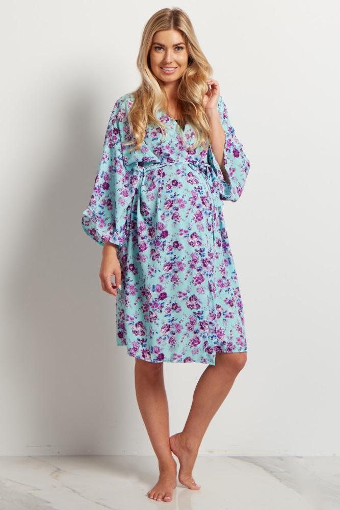 62ce01ab7df Mint Purple Floral Delivery Nursing Robe