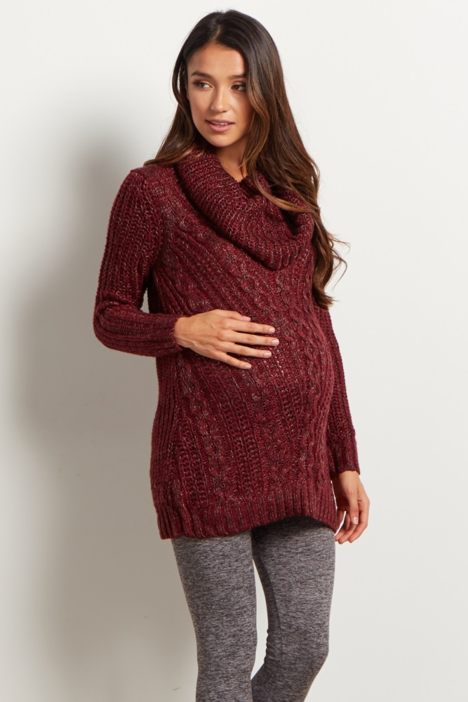 07b1b4c3bb3e Burgundy Cowl Knit Maternity Sweater