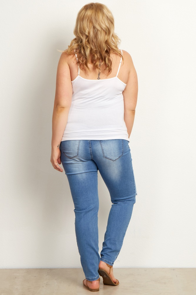 c5038e8153888 Blue Faded Distressed Plus Maternity Skinny Jeans