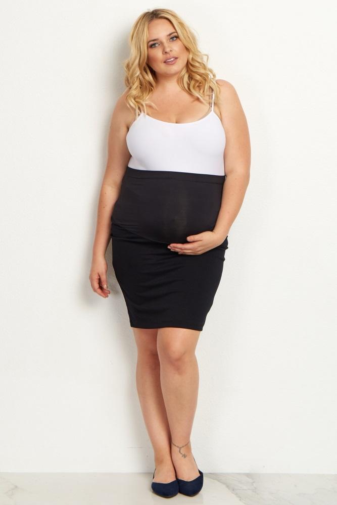 bb179c90f4 Black Plus Size Maternity Pencil Skirt