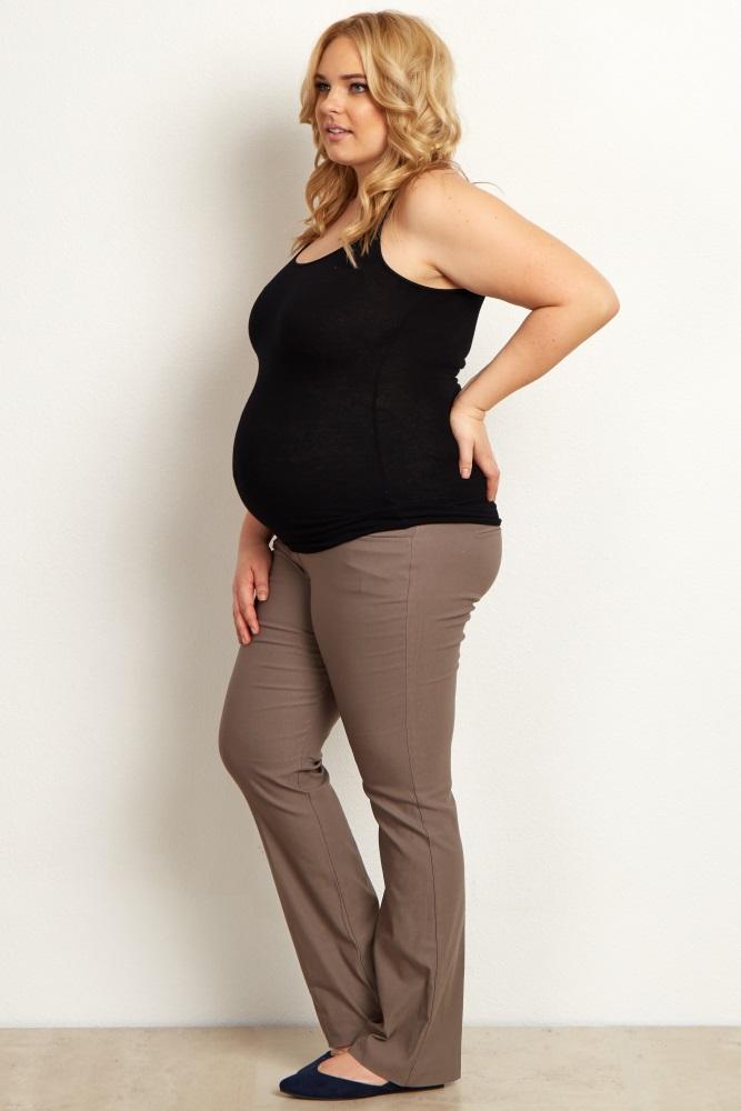 Taupe Straight Leg Plus Size Maternity Dress Pants