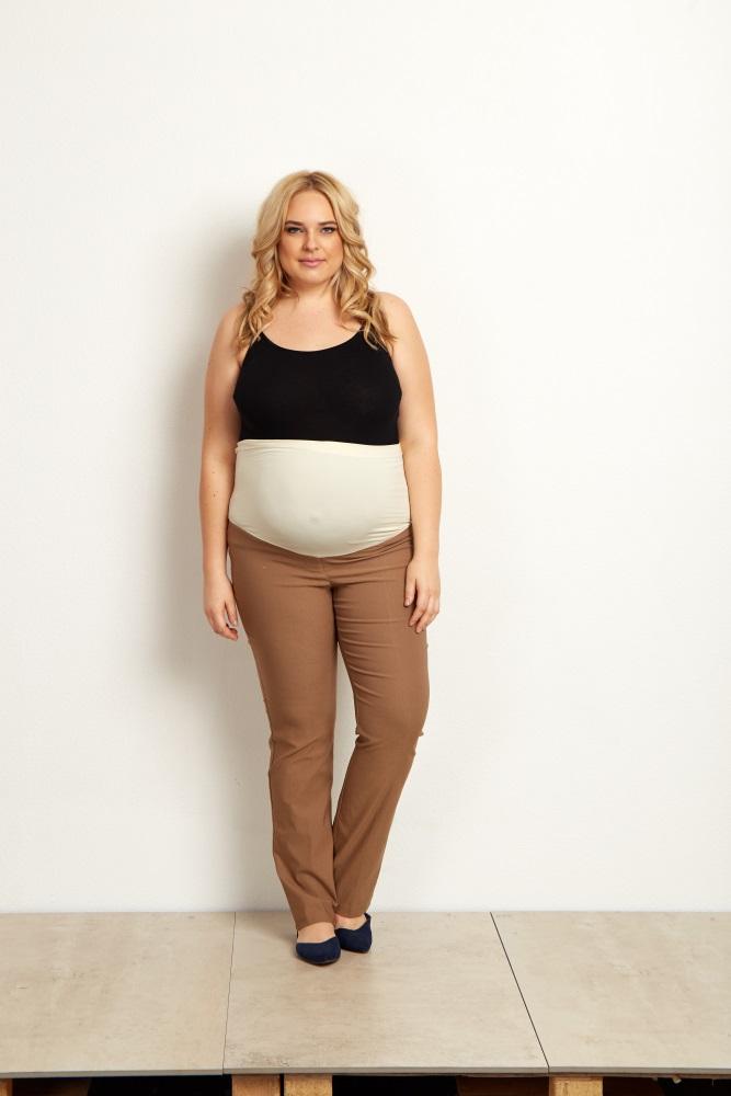 Mocha Straight Leg Plus Size Maternity Dress Pants