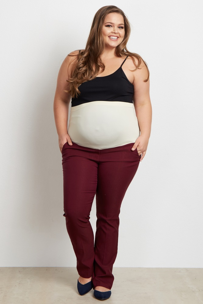 Burgundy Straight Leg Plus Size Maternity Dress Pants