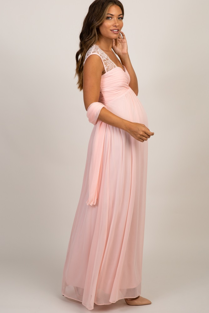 66d838ac15e72 Light Pink Lace Accent Chiffon Maternity Evening Gown