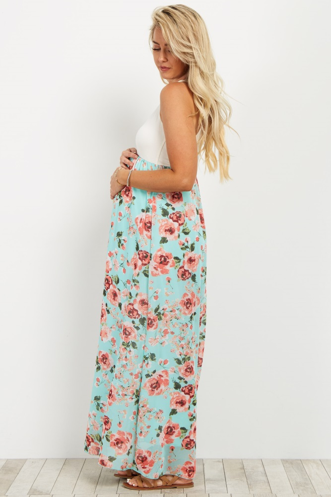 7fa26a235 Light Blue Floral Chiffon Bottom Maternity Maxi Dress