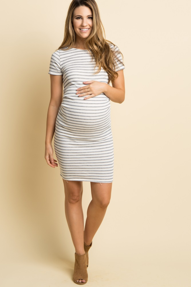 27df98b4c13 Tall Ivory Striped Fitted Short Sleeve Maternity Dress