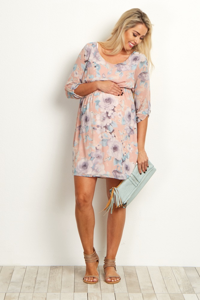 87c342a09bb Pink Floral Chiffon 3 4 Sleeve Maternity Dress