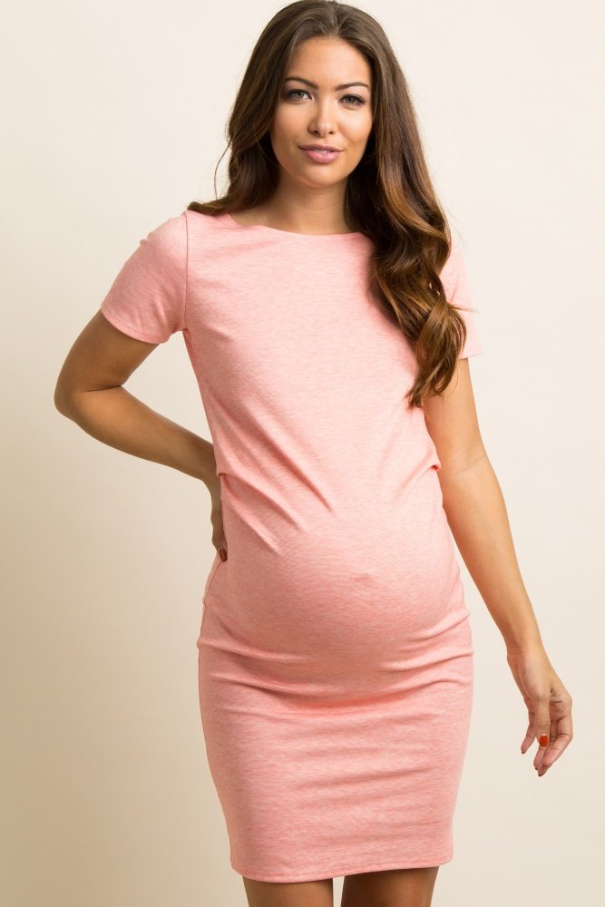 e290768980 Coral Short Sleeve Fitted Maternity Dress