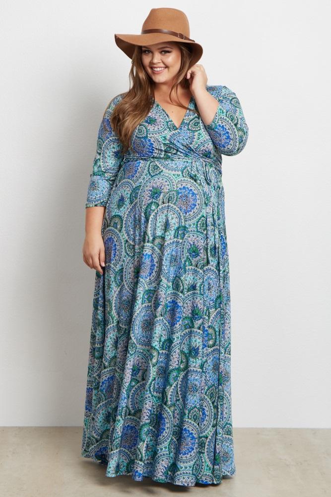 8f8f1ae611 Blue Paisley V Neck 3 4 Sleeve Plus Size Nursing Maternity Maxi Dress
