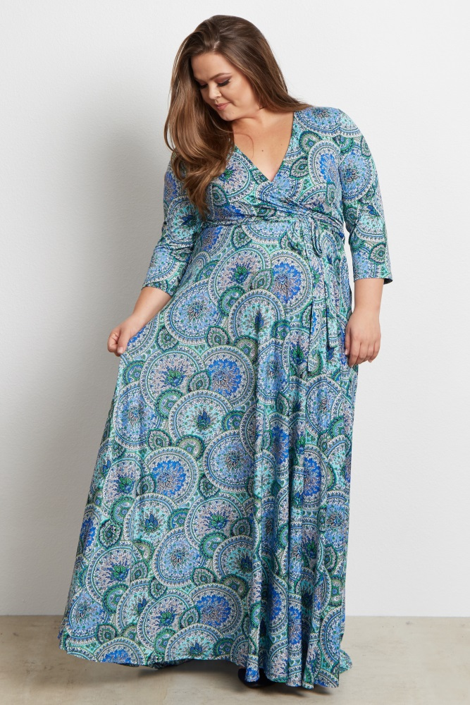 Blue Paisley V-Neck 3/4 Sleeve Plus Size Nursing/Maternity Maxi Dress