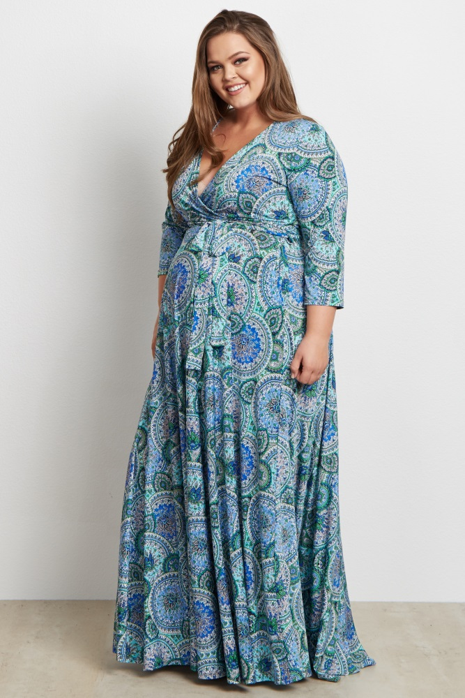 Blue Paisley V-Neck 3/4 Sleeve Plus Size Nursing/Maternity Maxi Dress