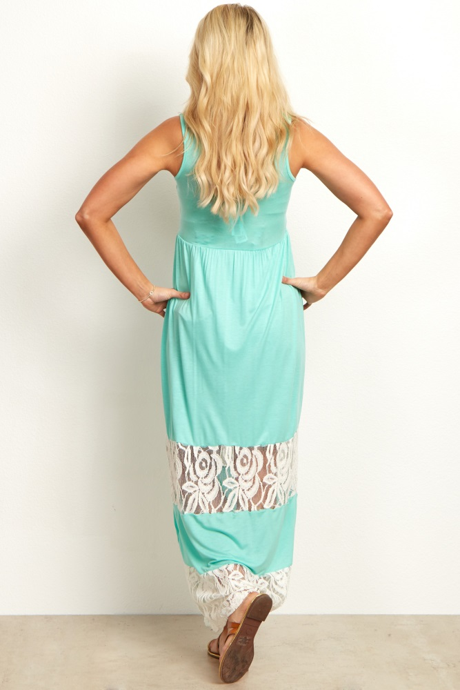 681406e9d9b Mint Lace Colorblock Maternity Maxi Dress