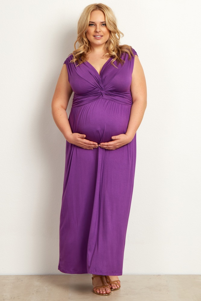 Purple Draped Plus Size Maternity/Nursing Maxi Dress