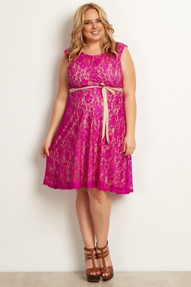 Magenta Green Lace Plus Size Maternity Dress