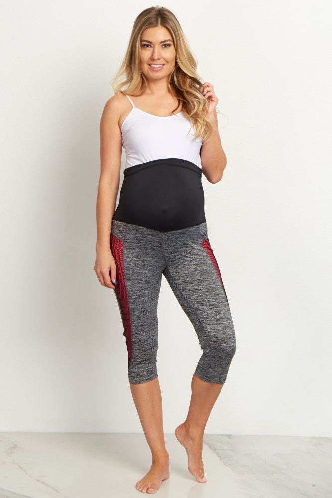 40122ef2543eb Pink Mesh Accent Active Maternity Capri Leggings