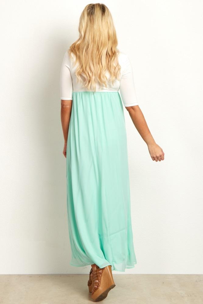 46c90a5d080 Mint Chiffon Colorblock Maternity Maxi Dress