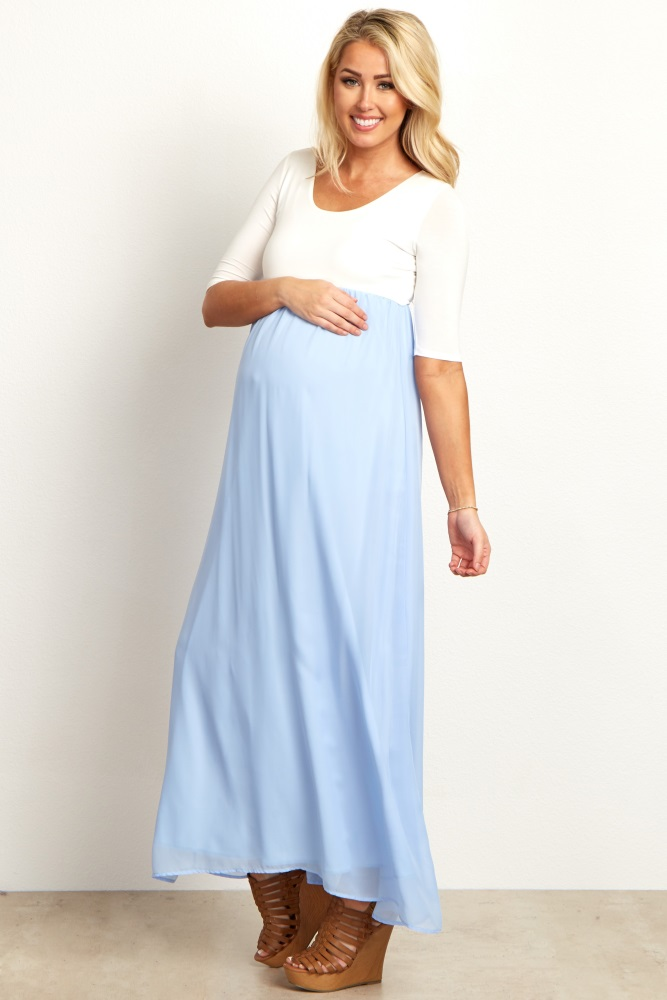 32d438f2e2ec9 Light Blue Chiffon Colorblock Maternity Maxi Dress
