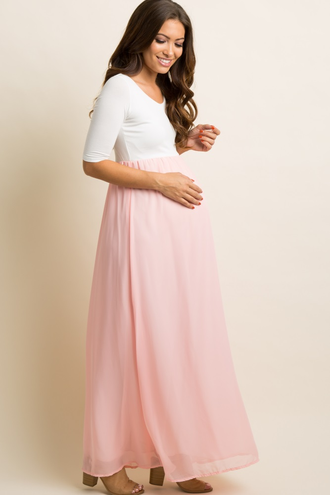 adbf7ce837382 Light Pink Chiffon Colorblock Maternity Maxi Dress