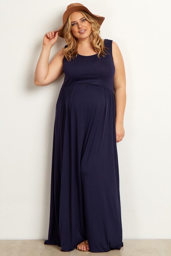 4a97480ff0e48 Black Basic Sleeveless Plus Maternity Maxi Dress