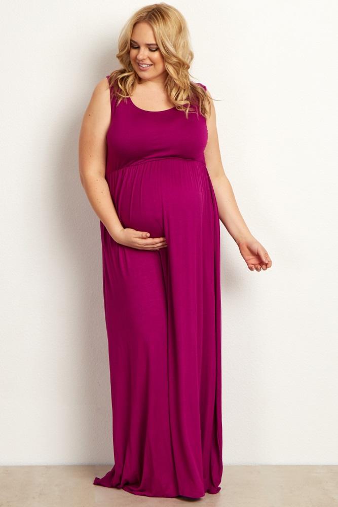 25d28eada2db5 Magenta Basic Sleeveless Plus Maternity Maxi Dress