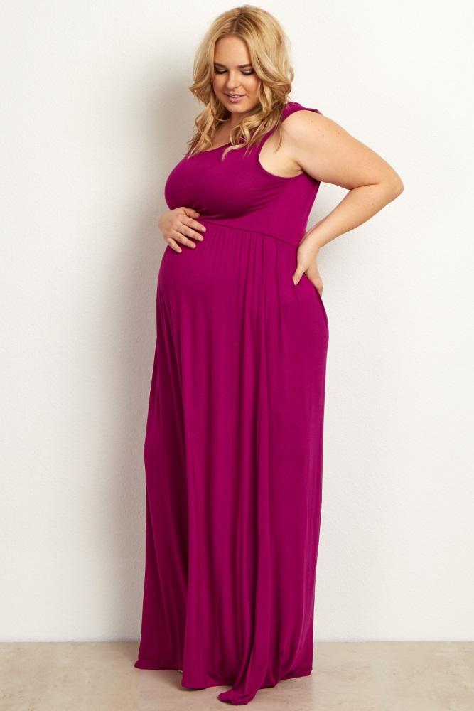 5afab18951975 Magenta Basic Sleeveless Plus Maternity Maxi Dress