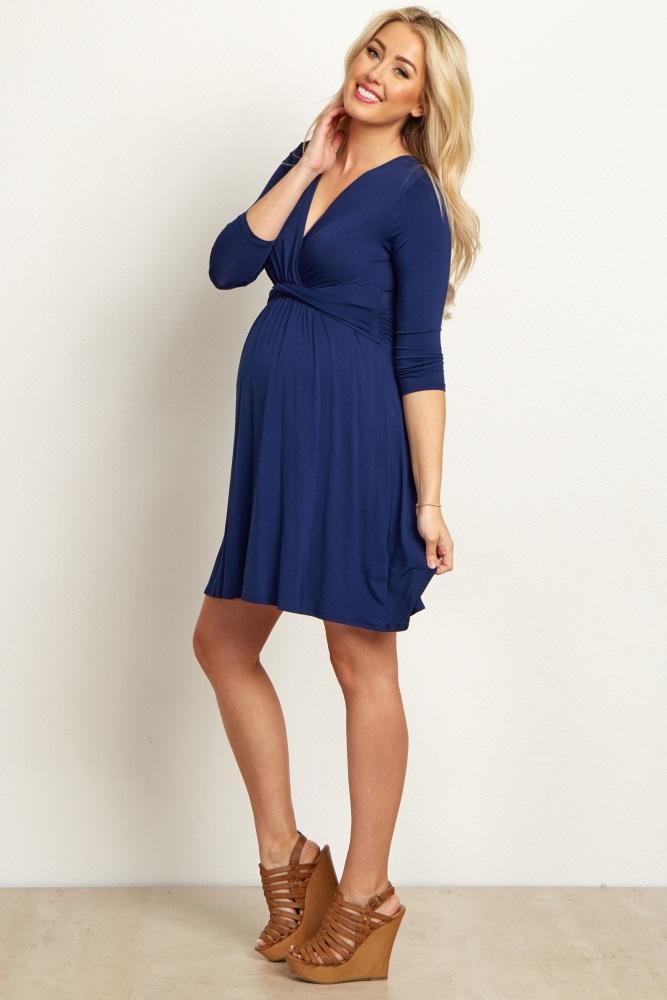 68553097f0f Navy Draped Front Tall Maternity Nursing Dress