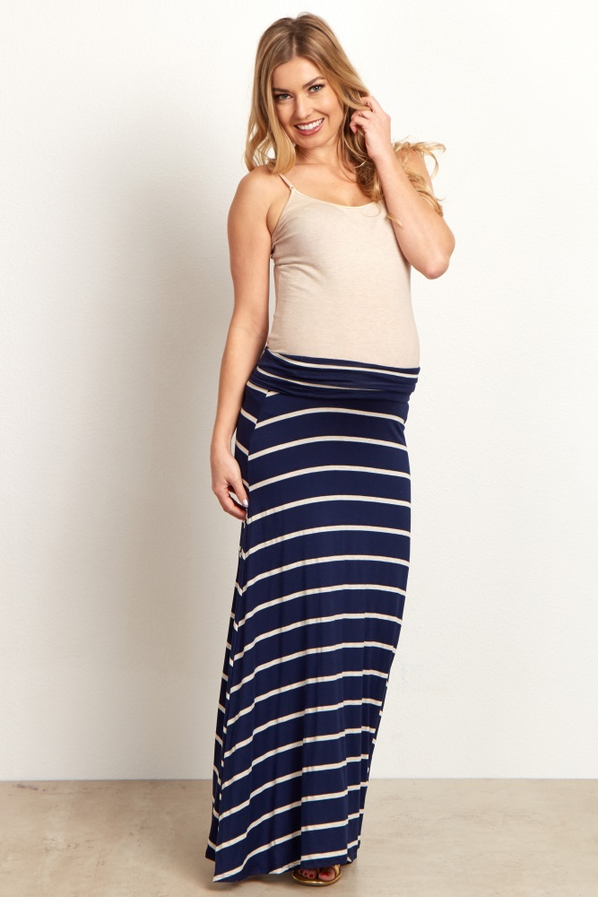 pretty nice 2019 discount sale attractivedesigns Navy Blue Beige Striped Maternity Maxi Skirt