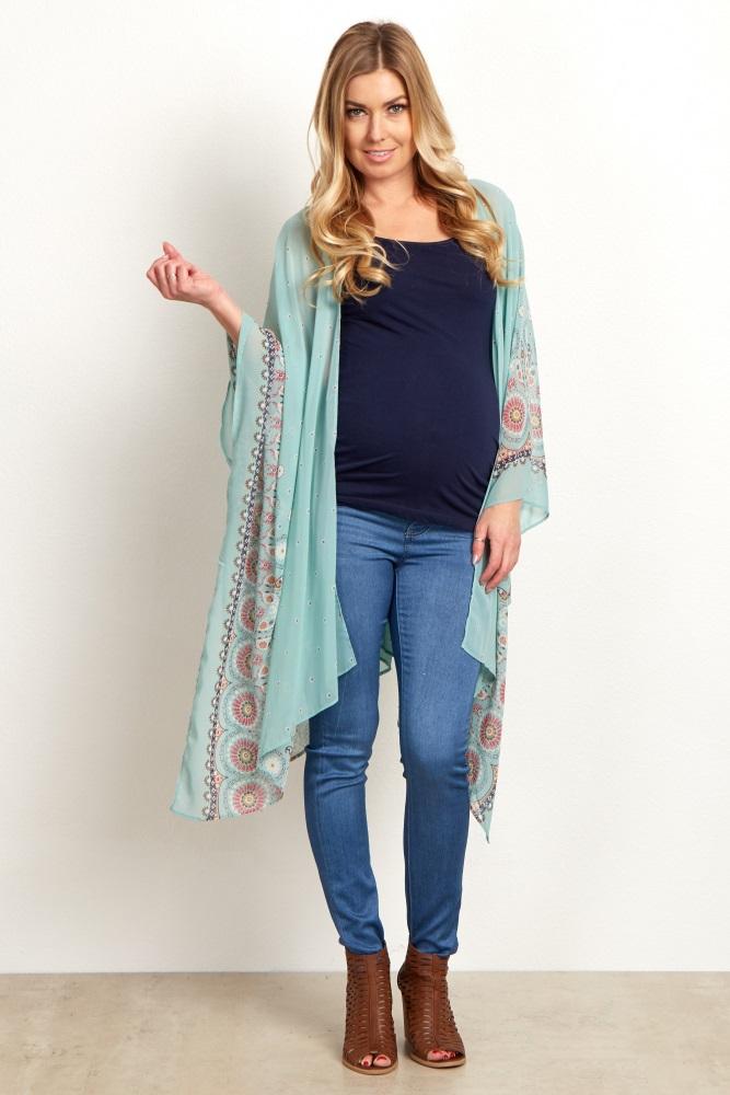 f10dab9a89e0 Mint Floral Chiffon Long Maternity Kimono