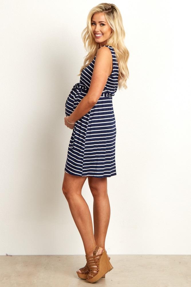 f132d1fb9bf Navy Striped Sash Tie Maternity Dress