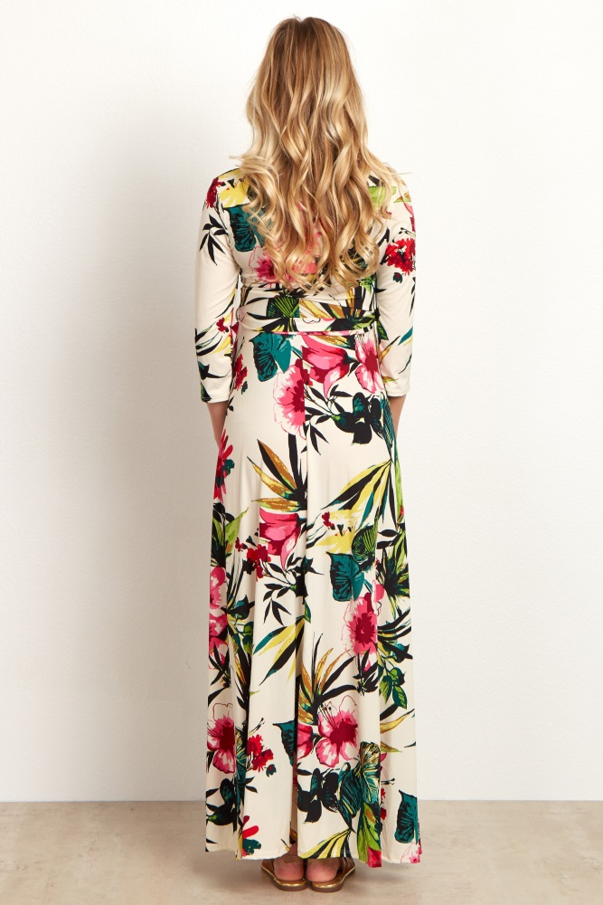2556b796d7c48 Ivory Multi Color Tropical Maternity Wrap Maternity Maxi Dress